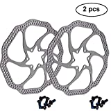 160mm Disc Brake Rotor with 6 Bolts Stainless Steel Bicycle Rotors Fit for Road Bike, Mountain Bike, MTB, BMX ( Stainless Steel, 2pcs)