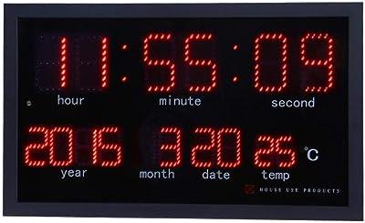 ホーム時計Led電子壁時計パーペチュアルカレンダー時計温度計Hd大画面ホームデスクトップOdernデザインミニマリストベッドルーム