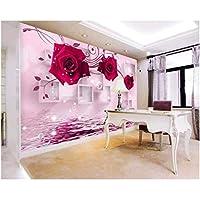 Iusasdz カスタム3D壁紙赤いバラの反射3Dリビングルームテレビ背景壁写真壁紙壁画3D-280X200Cm