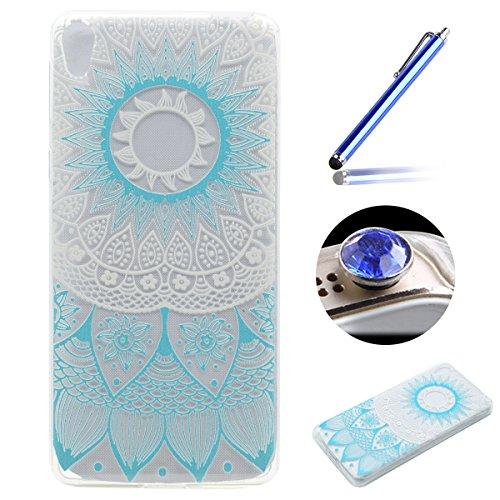 Etsue Doux Protecteur Coque pour [Sony Xperia XA Ultra],TPU Matériau Frame est Transparent Soft Cover pour Sony Xperia XA Ultra,Coloré Motif par Dessin de Mode Case Coque pour Sony Xperia XA Ultra + 1 x Bleu stylet + 1 x Bling poussière plug (couleurs aléatoires) - Fleur Bleue