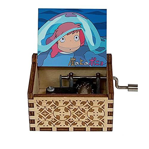 FunD Niedliche Spieluhr Ponyo Theme Spieluhr Babybett Kurbel 18 Hinweis Antikes geschnitztes Geschenk Home Music Toy Dekoration