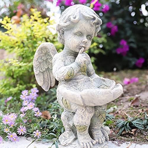 DMMFU Interior Al Aire Libre Casa Patio Decoración,Wings Angel Escultura,Sentado Querubines Ángeles Estatua,Resina Jardín Estatuas,Baby Angel Estatuas A