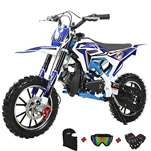 X-PRO 2021 Version 50cc Dirt Bike Gas Dirt Bike Pit Bikes Youth Dirt Pitbike with Gloves, Goggle and Face Mask (Blue)