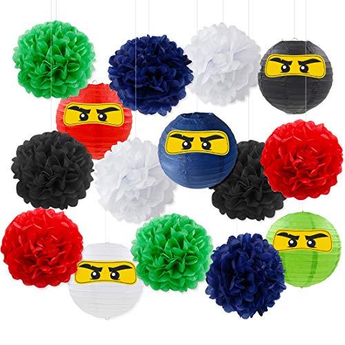 Ninja Party Dekorationen Krieger Party Supplies Ninja Papierlaternen Aufkleber Pom Poms für Ninja Theme Geburtstag Baby Shower