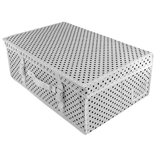 Hangerworld Caja de Ordenación 35x55x20cm Transpirable con Tapa Blanco con Lunares...