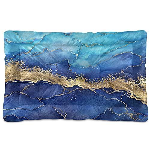 Alfombra abstracta de mármol azul para mascotas con venas doradas, pintada para perro, gato, cama de 24 x 36 pulgadas, cojín para cojín de almohada para cachorros pequeños y medianos