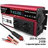 650W Inversor de Corriente, Convertidor de Voltaje Inversor DC 12V, 220V-240V AC Salida con 2 enchufes de la UE y 4 Puertos USB Que Incluyen Clips de batería de automóvil