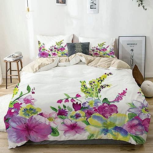 3D Bedding Comforter Copre Set Biancheria da Letto Asciugamano misto fiori da giardino ed erica...