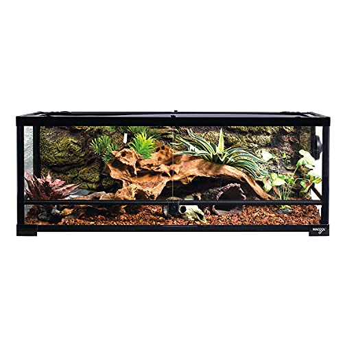 WACOOL Full Glass Front Opening Reptile Terrarium 36' x 18'x 12', Reptile Enclosure 35 Gallon for Snake Tortoise etc. with Top Screen Ventilation (Knock-Down)