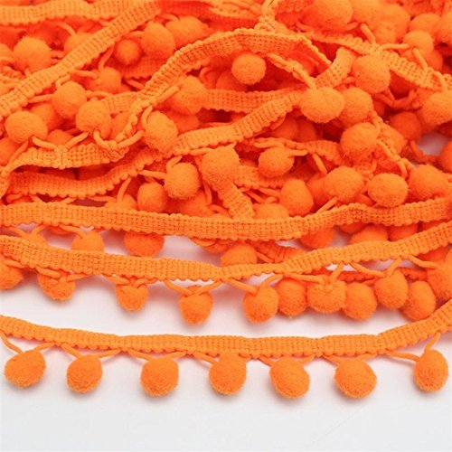 Yalulu 20 Yards Mini Triangle Pom Pom Trim Ball Fringe Ribbon Tassel DIY Sewing Lace for Clothing Curtain Pillow Accessory Decoration (Orange)