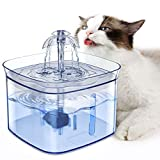 Cat Water Fountain, Sosirolo Automatic 84oz/2.5L Pet Drinking Fountains with 2 Replacement Filters & Night Light