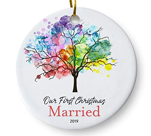 Our First Christmas Married 2019 Ornament, Newlywed Couples Keepsake Wedding Present, Rainbow Tree 3 Inch Flat Ceramic Ornament with Gift Box