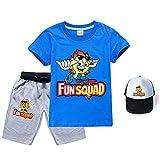 Fun Squad - Juego de camiseta + pantalones cortos + sombrero de sol, unisex de moda divertido para niños y niñas, azul, 170