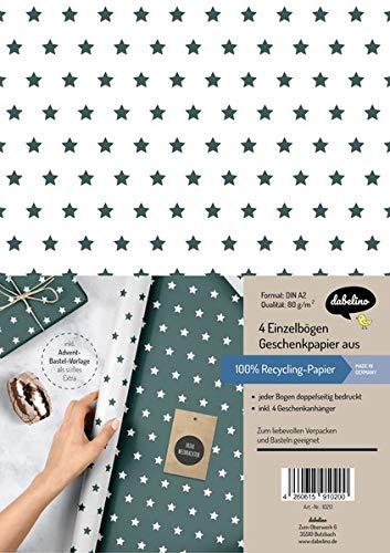 Weihnachtsgeschenkpapier-Set: Sterne (grün/ weiß): 4x Einzelbögen + 4x Geschenkanhänger