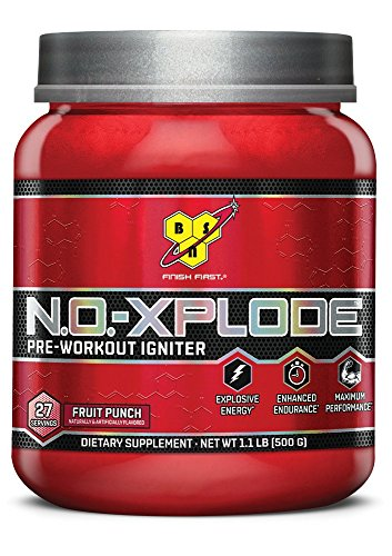 BSN N.O.-XPLODE Pre-Workout Igniter Dietary Supplement, Fruit Punch - 1.1lbs, 27 Servings