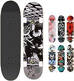 Hikole Skateboard Completo in Legno 79x20 cm in Acero Canadese 31 Pollici, Ruote 85A per P...