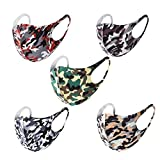 MASKGUARD 5 Color Pack Kpop Fashion Camo Face Masks - Anti Dust Washable Reusable Fabric Mouth Cover, Great for Outdoors, Protection, Pollens, and Travel