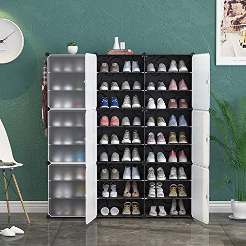 XWZH Zapatero a prueba de polvo, 9 cubos, organizador de almacenamiento de cubo versátil, armario de plástico con puertas (negro y blanco)