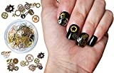 Steam Punk Encapsulated Nail Art Gear Cogs Nail Charms, 100 Pieces, Steampunk 3D Metal Decal Art Rose Gold and Silver or Tips, Acrylic, Gels and Decorations