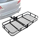 Leadpro Hitch Mount Cargo Basket Folding Cargo Carrier Luggage Basket 60' L x 24' W x 6' H with 500 LB Capacity Fits 2' Receiver Universal for Cars, Trucks, SUV's Hatchbacks