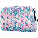 Bolsa de maquillaje de viaje con patrón cuadrado marroquí rosa púrpura rosa acuarela bolsa de maquillaje organizador con cremallera para mujeres y niñas