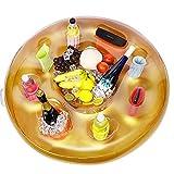 Zcaukya Pool Drink Holder Floats, 35 inch Pool Float Cooler, 9 Holes Pool Floating Buffet Serving Bar for Beverage, Cell Phone, Speaker, Pool Party Favors, Golden