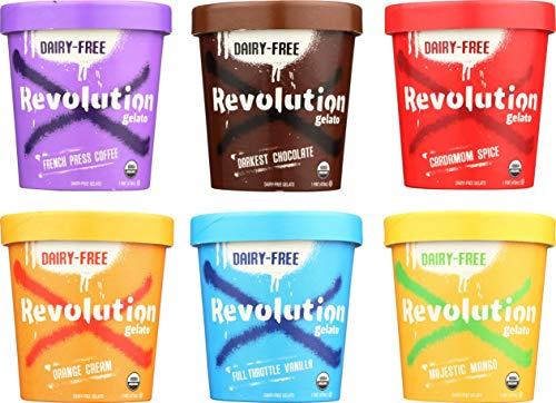 Revolution Gelato 6 Pack Pints: Sampler - 1 chocolate, 1 vanilla, 1 mango, 1 orange, 1 coffee, 1 cardamom; DAIRY-FREE · CERTIFIED ORGANIC · MADE FROM PLANTS · GLUTEN FREE · KOSHER · VEGAN · NO GMOS