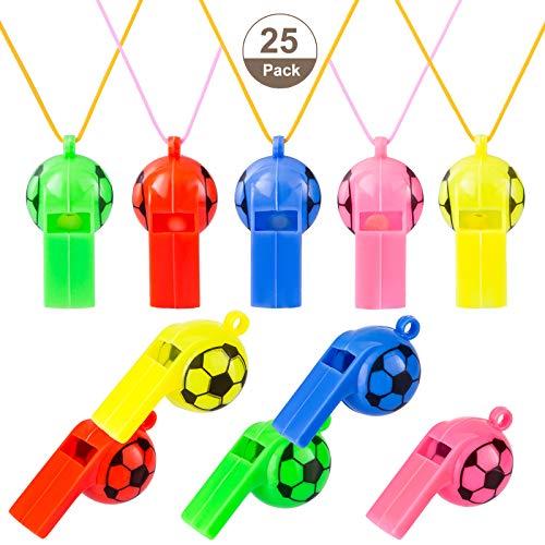 Kesote 25 Silbatos de Plástico de Fútbol con Cordón para Deporte Escolar para Niños (5 Colores)
