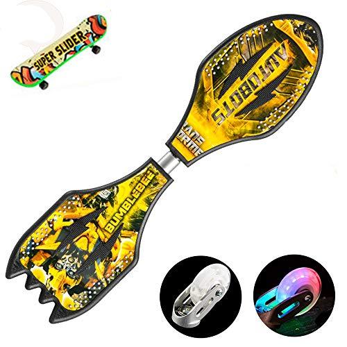 Hignful Waveboard Schlange-Brett,Streetsurfing Drift Caster Board Streetboard Trickboard, Surfboard Skateboard Mit Tasche + Leuchtrollen +Mini-Griffbrett Kunststoffdeck