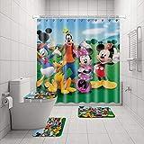 4 Stück Donald Duck & Mickey Mouse Duschvorhang-Sets mit rutschfesten Teppichen, WC-Deckelbezug & Badematte, wasserdichte Duschvorhänge mit 12 Haken, langlebiger Badvorhang für Badezimmer