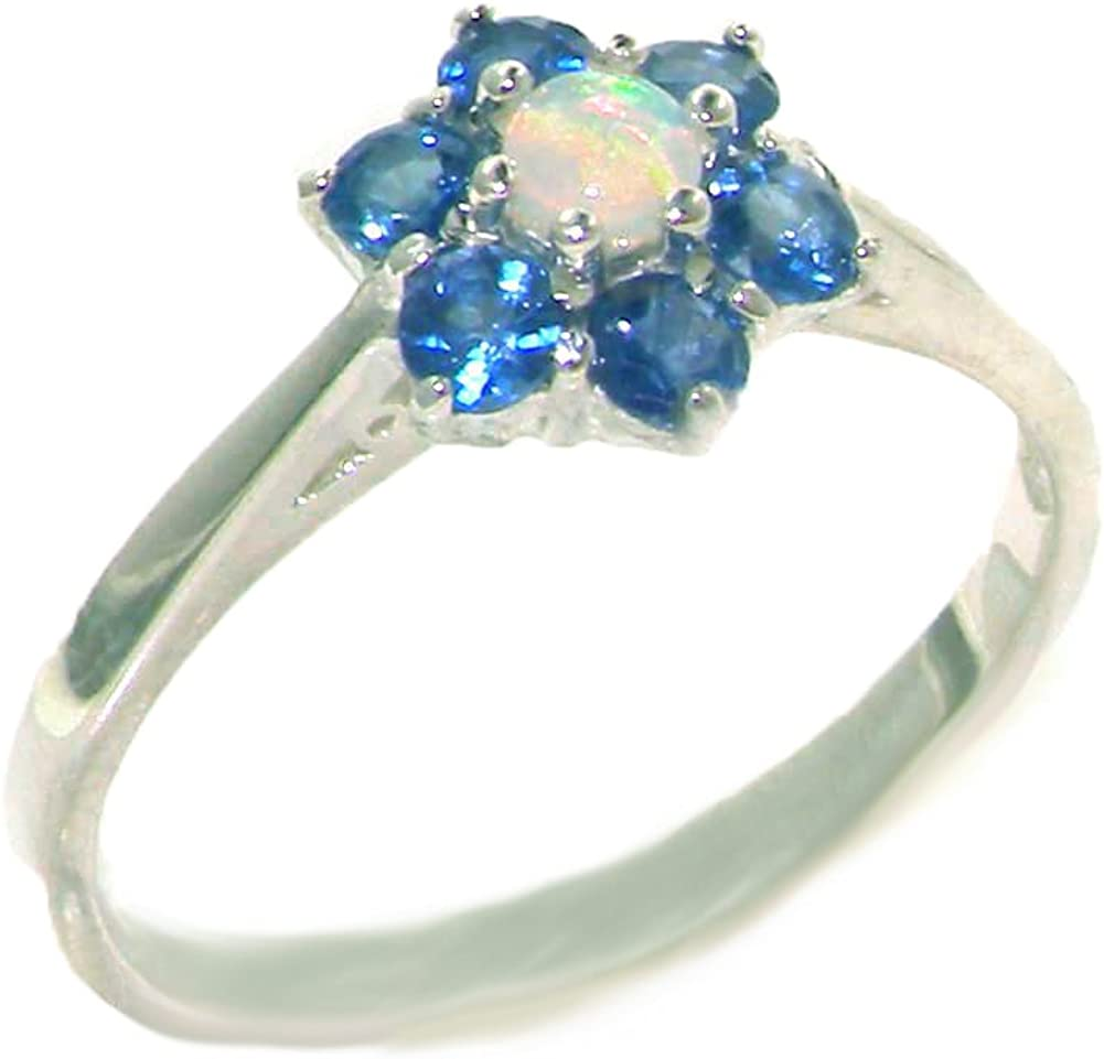 925 Sterling Silver Real Genuine Popular shop Outlet ☆ Free Shipping is the lowest price challenge Cluste Opal Sapphire and Womens