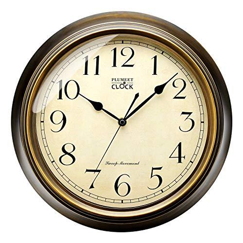 Plumeet Reloj de Pared Retro Grande, Reloj Silencioso Clásico sin Tic-TAC de 33cm, Adecuado para Decorar Sala/Dormitorio/Oficina, Alimentado por Batería (Bronce)