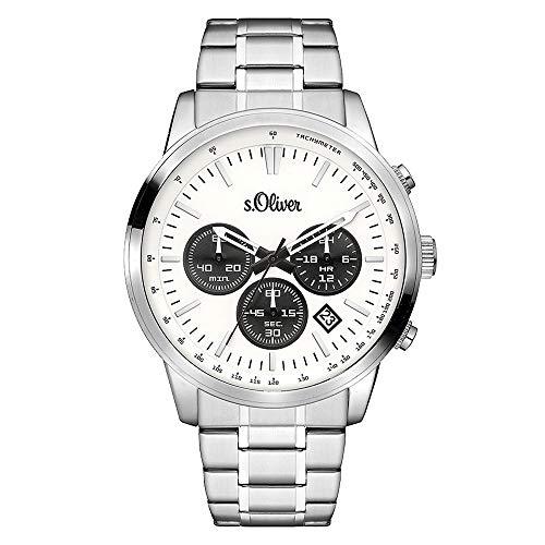 s.Oliver Time Herren Chronograph Quarz Uhr mit Edelstahl Armband SO-3334-MC, silber