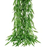 HOGADO 50pcs 375 Feet Artificial Vine Greenery Garland Faux Silk Willow Rattan Wicker Twig Fake Garden Wedding Festival Windowsill Balcony Courtyard Decor