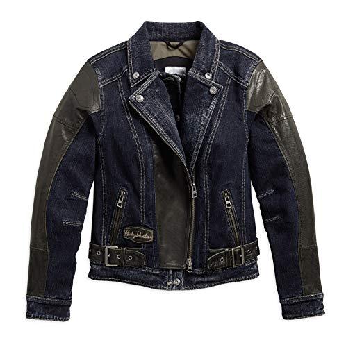 HARLEY-DAVIDSON Vix Denim & Leather Riding Damen Jacke, 97203-17VW, XL-LADY