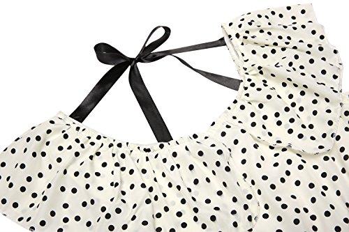 Zeagoo Damen Vintage Sommerkleid Punkt Partykleid Polka Dots O-Ausschnitt Minikleid mit Gürtel - 6