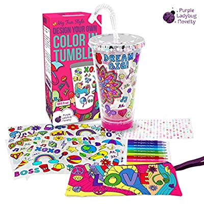 Create Your Own Personalized Tumbler for Girls with Color-in Designs! BPA Free Kids Tumbler with Lid and Straw - Great Gift Idea for Girl, Fun DIY Arts and Crafts Kit for Children, Cool Creative Set!