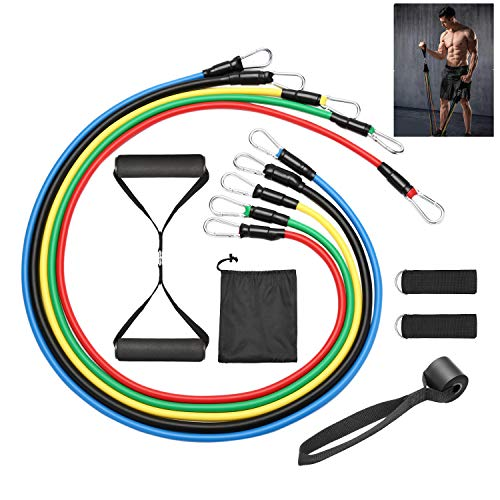 Asvert Bands Widerstandsbänder Set 100LBS, Sports Fitnessband 5 Fitnessbänder Tubes Bänder, Griffe, Türanker, Fußschlaufen + Einstiegsguide