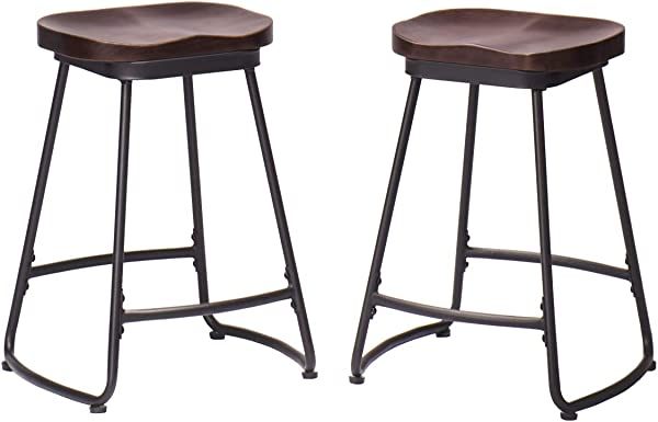 Alunaune Counter Height Bar Stools Set Of 2 Metal Barstools With Wood Seat 26