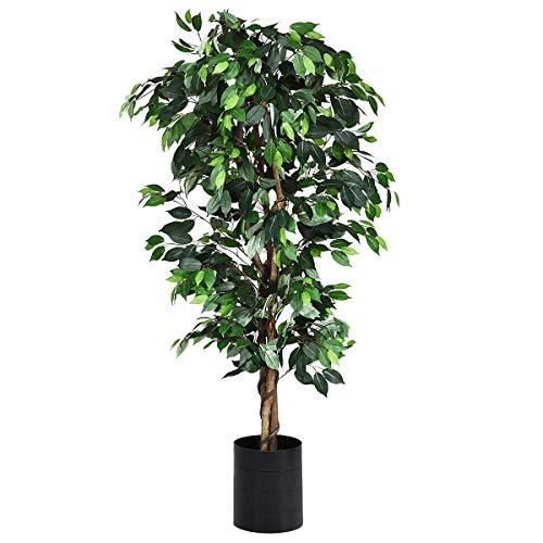 COSTWAY Planta Árbol Artificial con Maceta Altura de 180cm para Oficina Hogar Decoración Interior