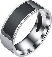 MUZI NFC Smart Ring,Multifunctional Waterproof Finger Digital Ring for All Android Windows NFC Cellphone Mobile Phones (# 8, Black)