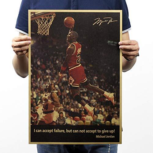 Greneric Jordan-Dunks aceptan fracasos, pero no pueden aceptarse, renunciar a renunciar! Póster vintage nostálgico de la NBA All-Star (51 x 35,5 cm)