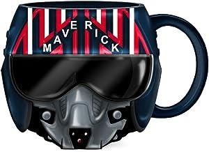 Silver Buffalo Top Gun Maverick Helmet, Ceramic 20oz Mug 3D Sculpted, black, blue, red (TOP4023D)