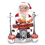 ZXYAN Bailando Cantando Papá Noel Toca la batería Muñeca con Pilas Figura Musical en Movimiento Decoración navideña Juguete navideño