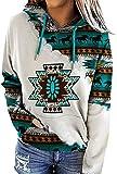 Women's Geometric Horse Print Aztec Hoodie Pullover, Cowgirl Western Ethnic Style Printed Hooded Sweatshirt (Horse,Medium)