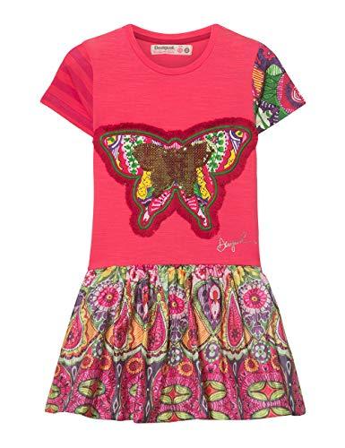 Desigual Mädchen Girl Knit Dress Short Sleeve (Vest_Albany) Kleid, Rot (Pink Fuschia 3022), 104 (Herstellergröße: 3/4)