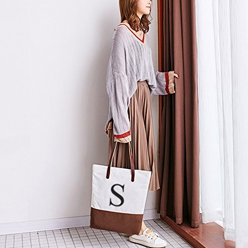 [ INITIAL - A to Z ] Embroidered Monogram Name Duotone BROWN Women Casual Canvas Shoulder Bag Messenger Zipper Tote Bags Size: L