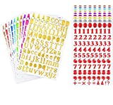 20 Sheets Colorful Number and Letter Alphabet Sticker Self Adhesive PU Shiny Stickers for Arts Craft Greeting Cards Scrap Books Home Decoration