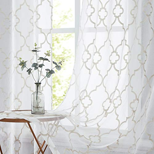 """Beige White Moroccan Sheer Curtains for Bedroom 84"""" Natural Ivory Linen Textured Geometric Embroidered Curtain Drapes Airy & Light Filtering Lattice Window Curtain Set for Living Room 52"""" W 2 Panels"""