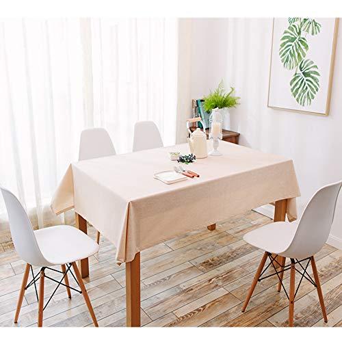Uniguardian Chiffon Housse de table en lin Coton Look étanche Facile à nettoyer et à la poussière rectangulaire Table pliante carrée Coque Nappe fête de mariage Hôtel Housse de table, beige, 130cm x 240cm